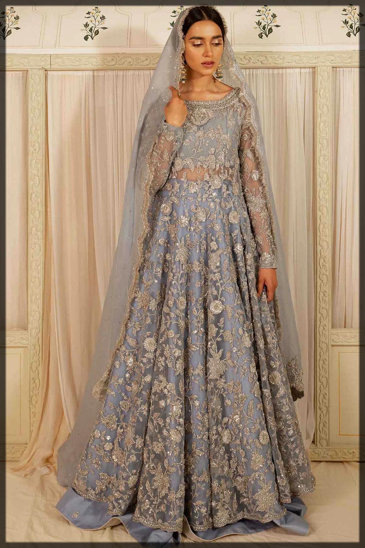 Pure Net Flared peshwas with Lehenga for Walima Brides