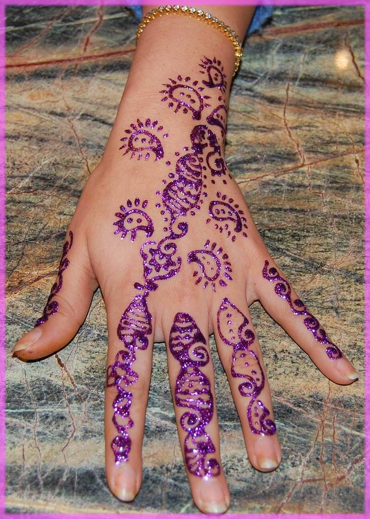 Purple Glitter Mehndi