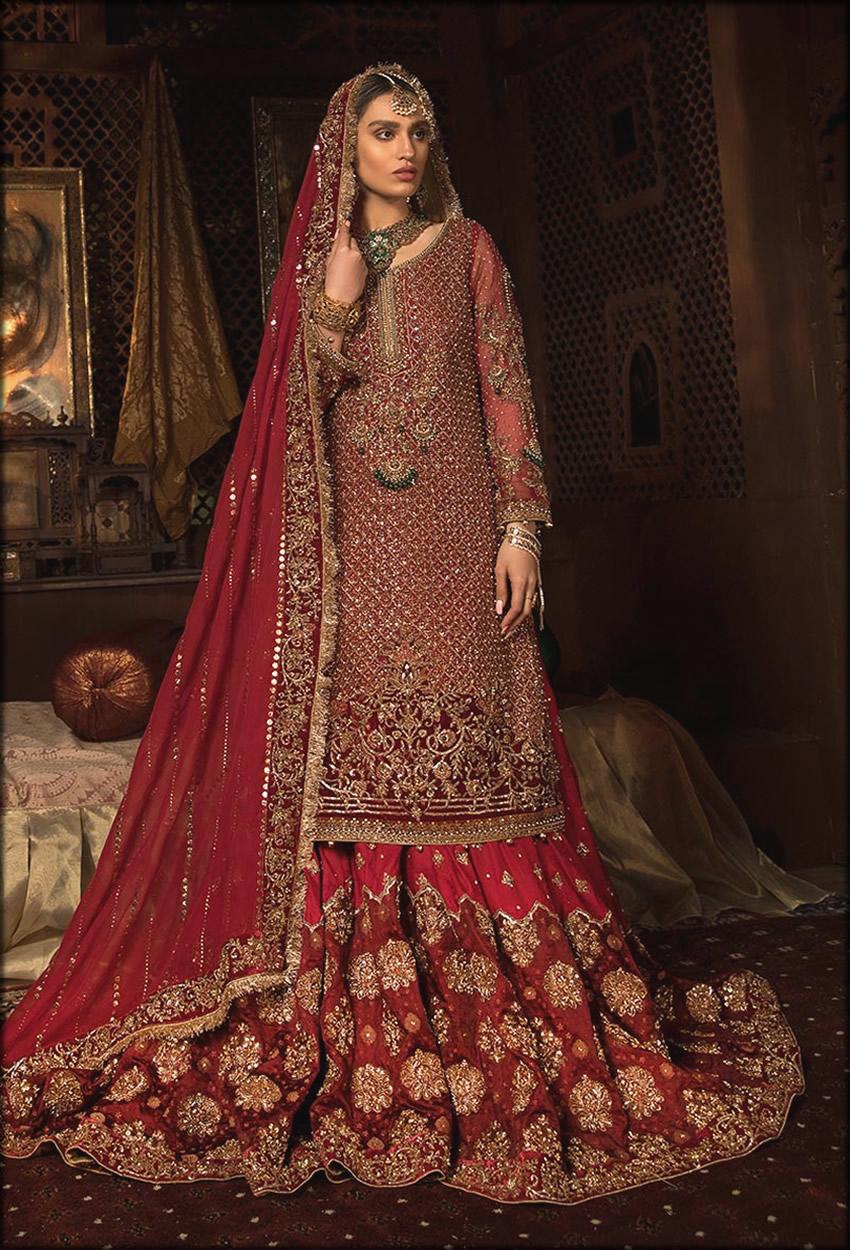 Red Berry Bridal Lehenga With Long shirt