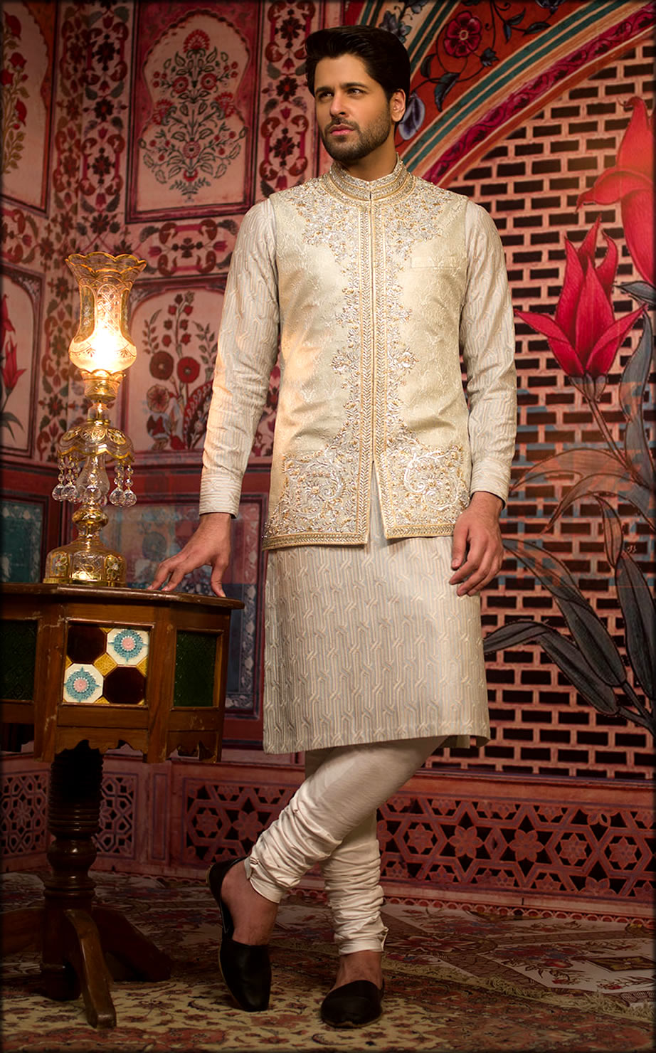 Royal White Kameez Pajama With matching-Waistcoat