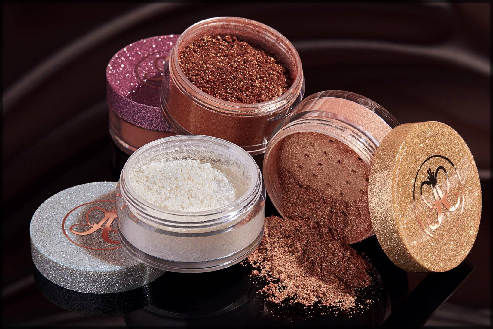 Shimmery powder highlighters