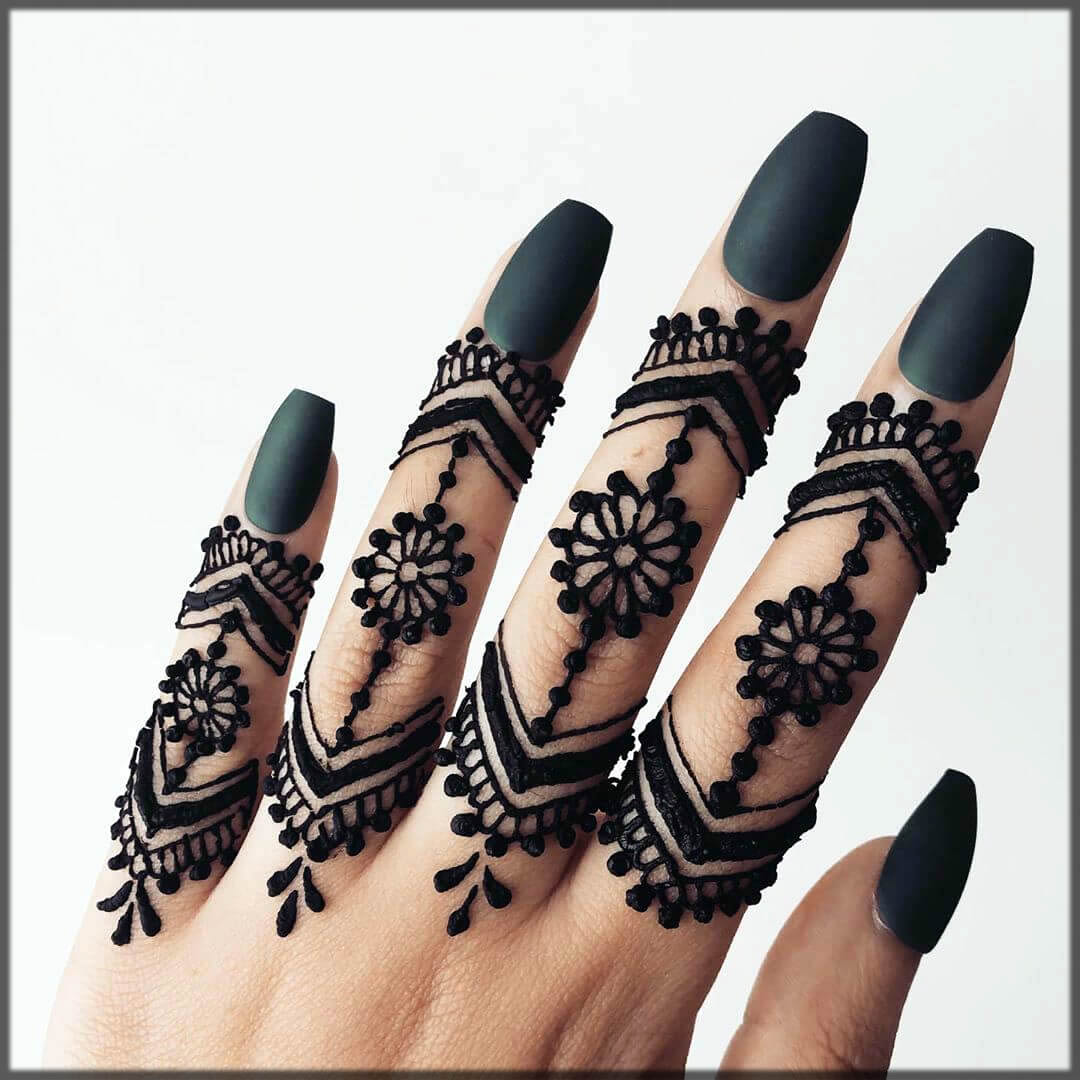 beautifull black mehndi finger designs