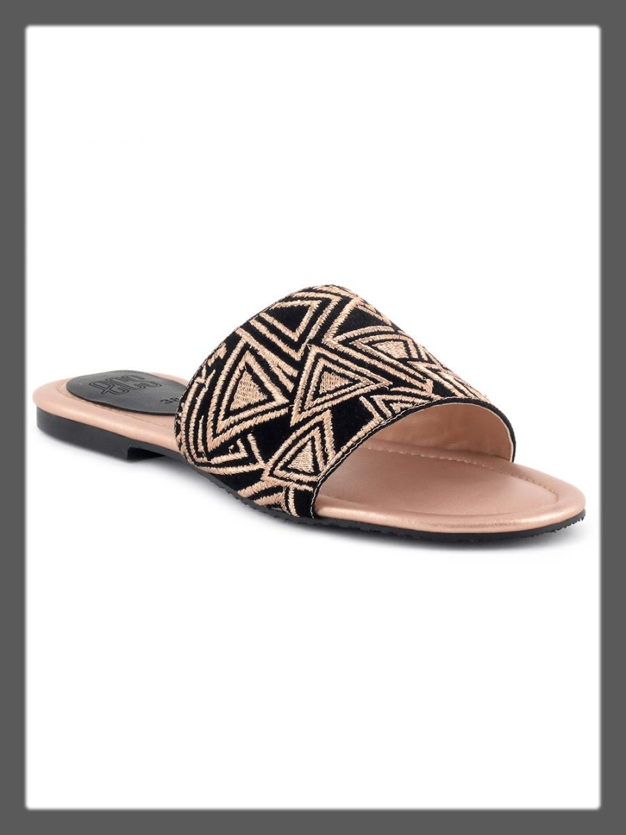 black and brwon chappal for women