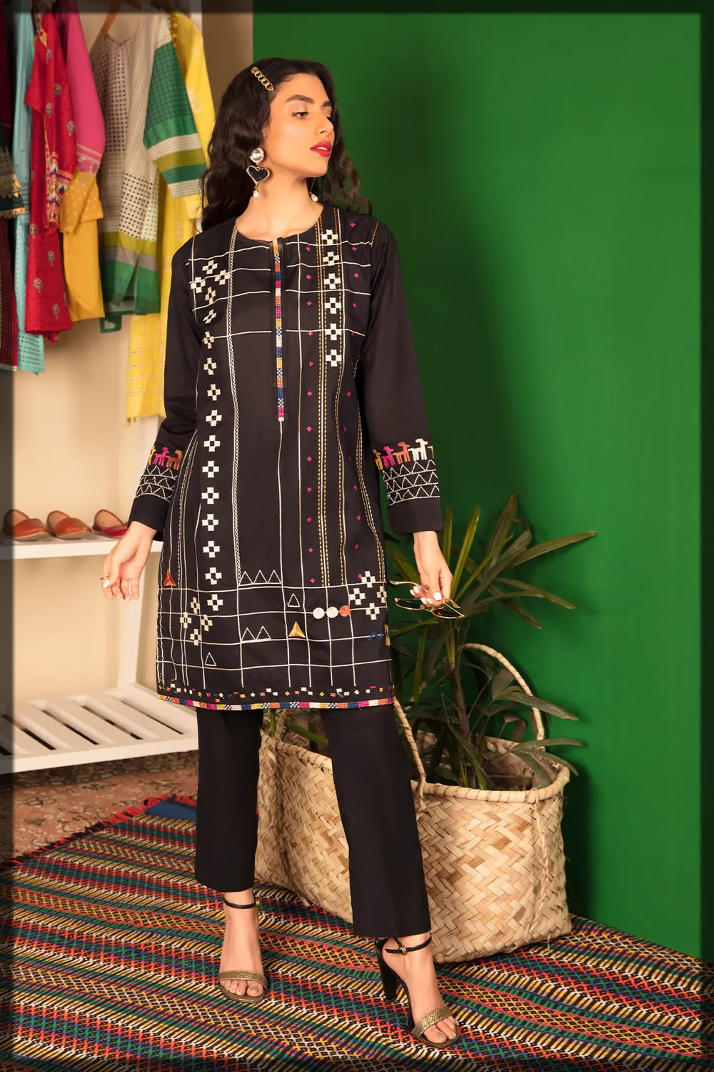 black embroidered lawn dress