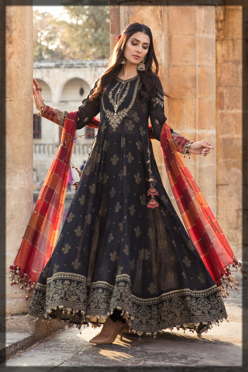 black embroidered luxury lawn suit