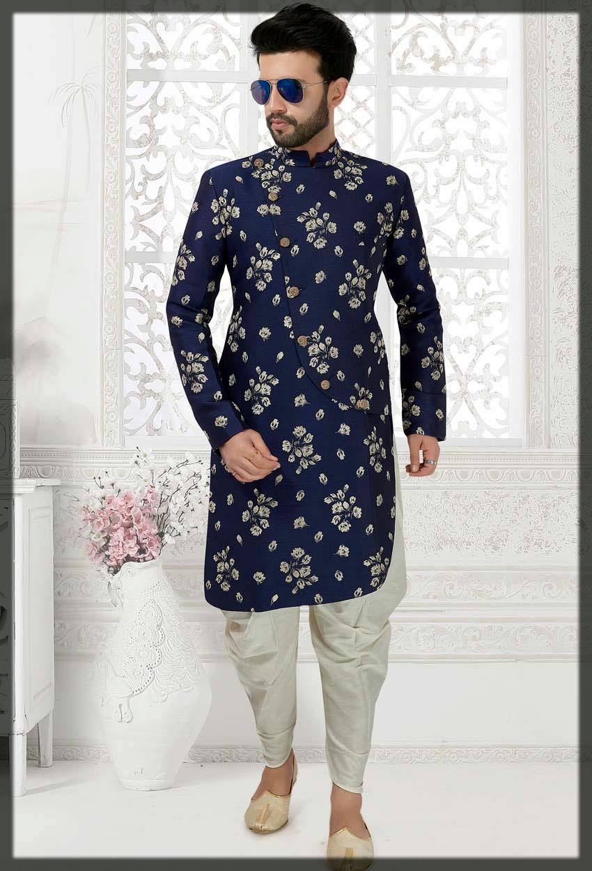 blue silk mehndi sherwani style