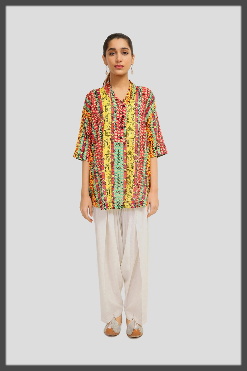 bright hues summer top for ladies