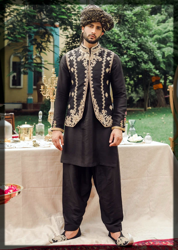 classic black mehndi dresses for groom