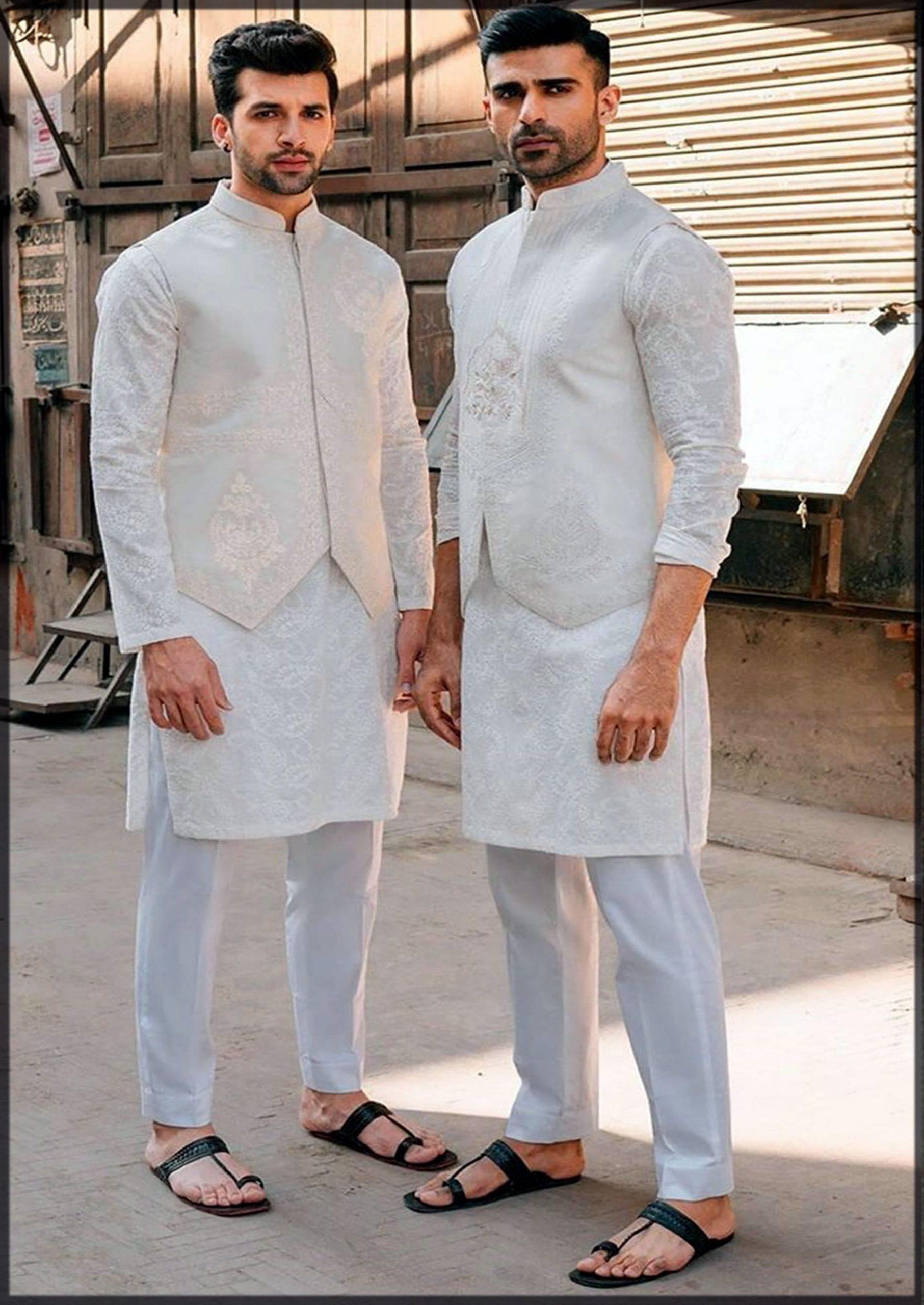 classy white groom mehndi dress