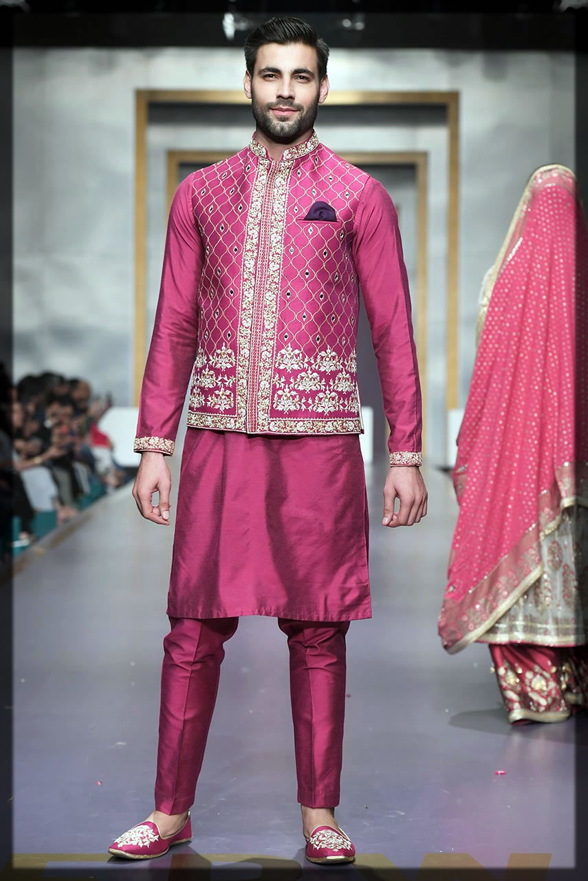 dark pink mehndi dresses for groom