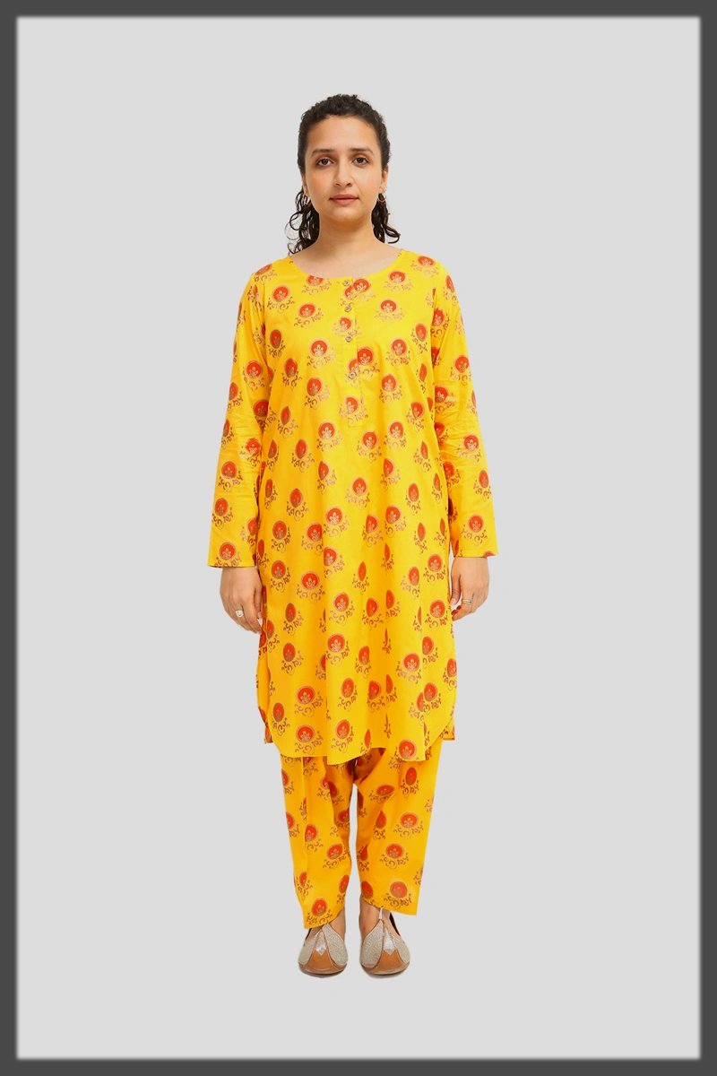 dazzling yellow two piece suit by generation