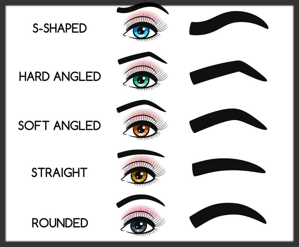 different eyebrows shapes