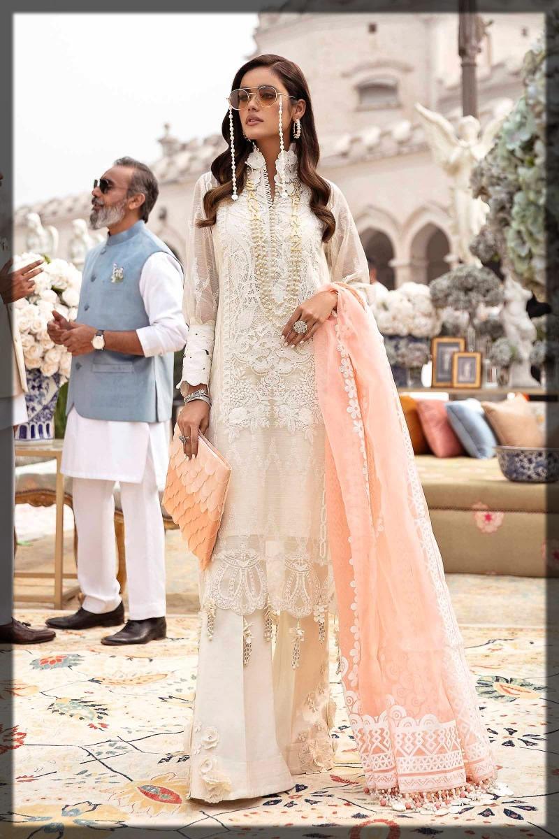 embellished white luxury lawn dress