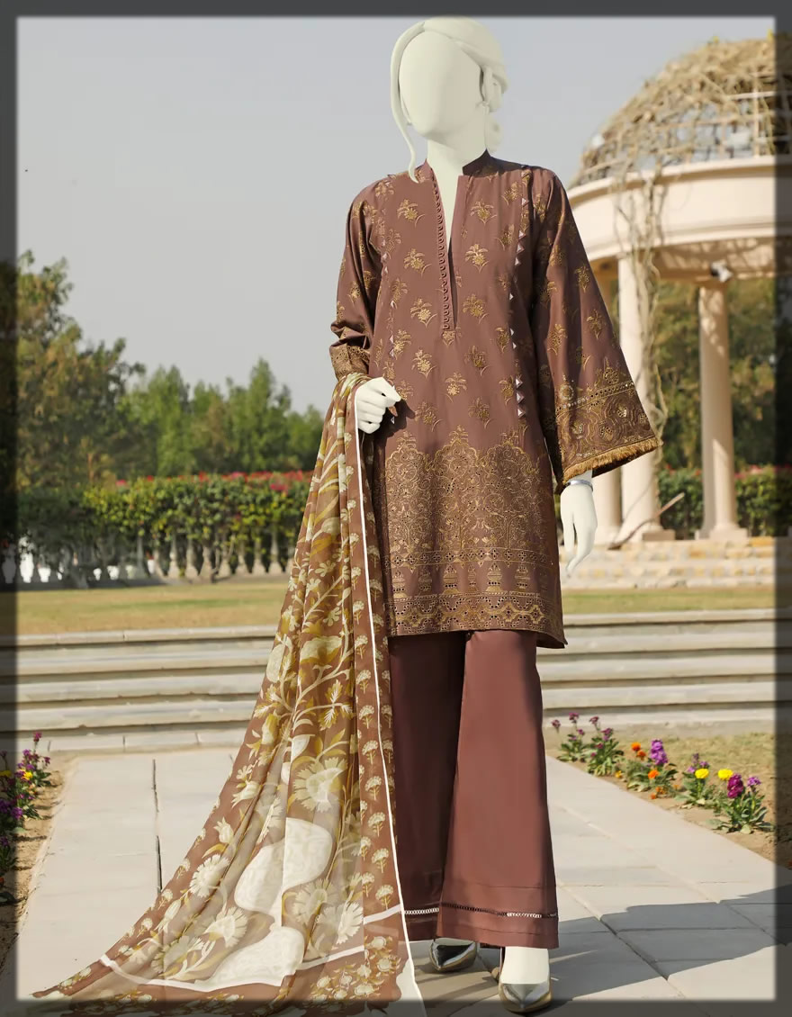 embroidered brown lawn dress