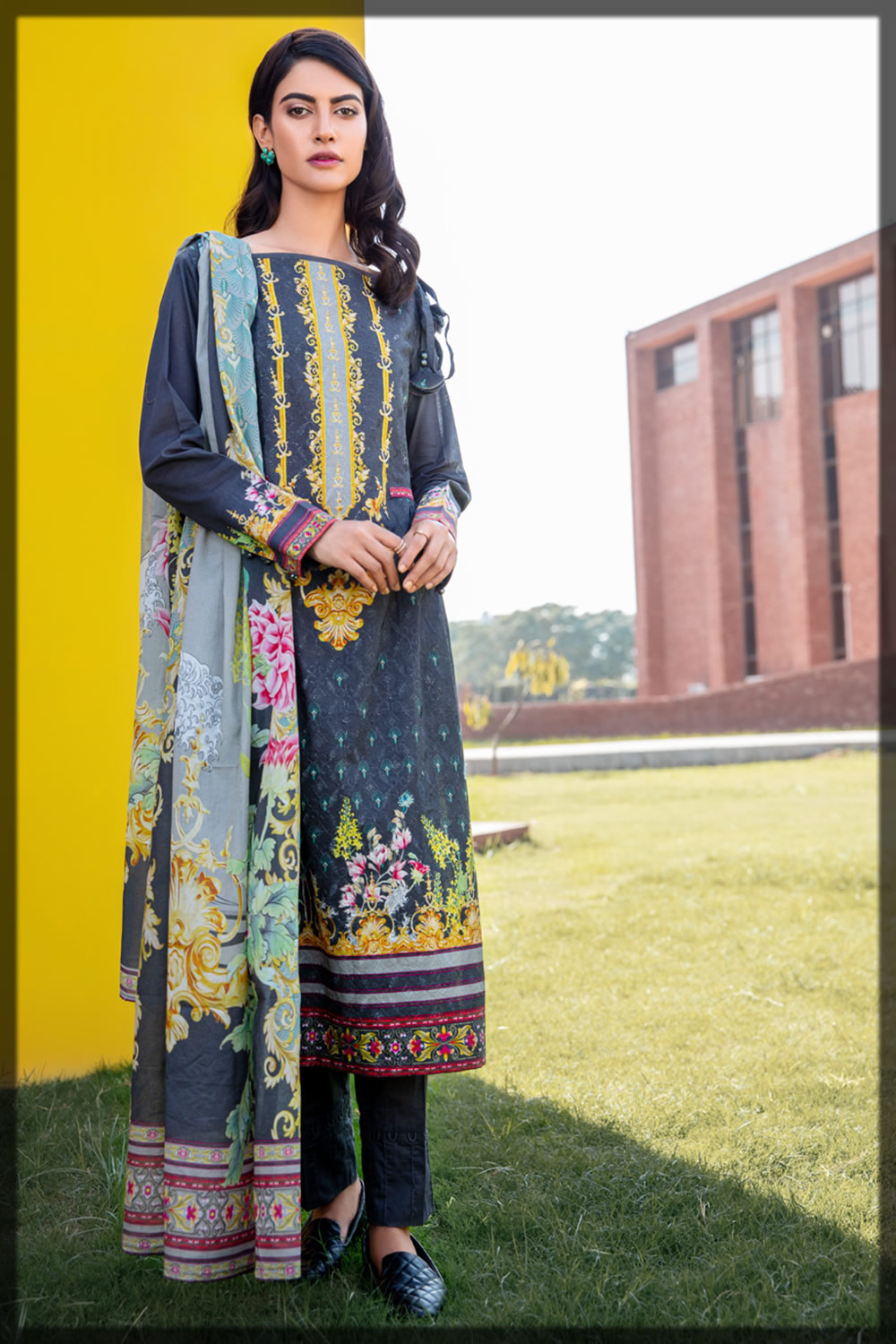 embroidered three-piece lawn suit