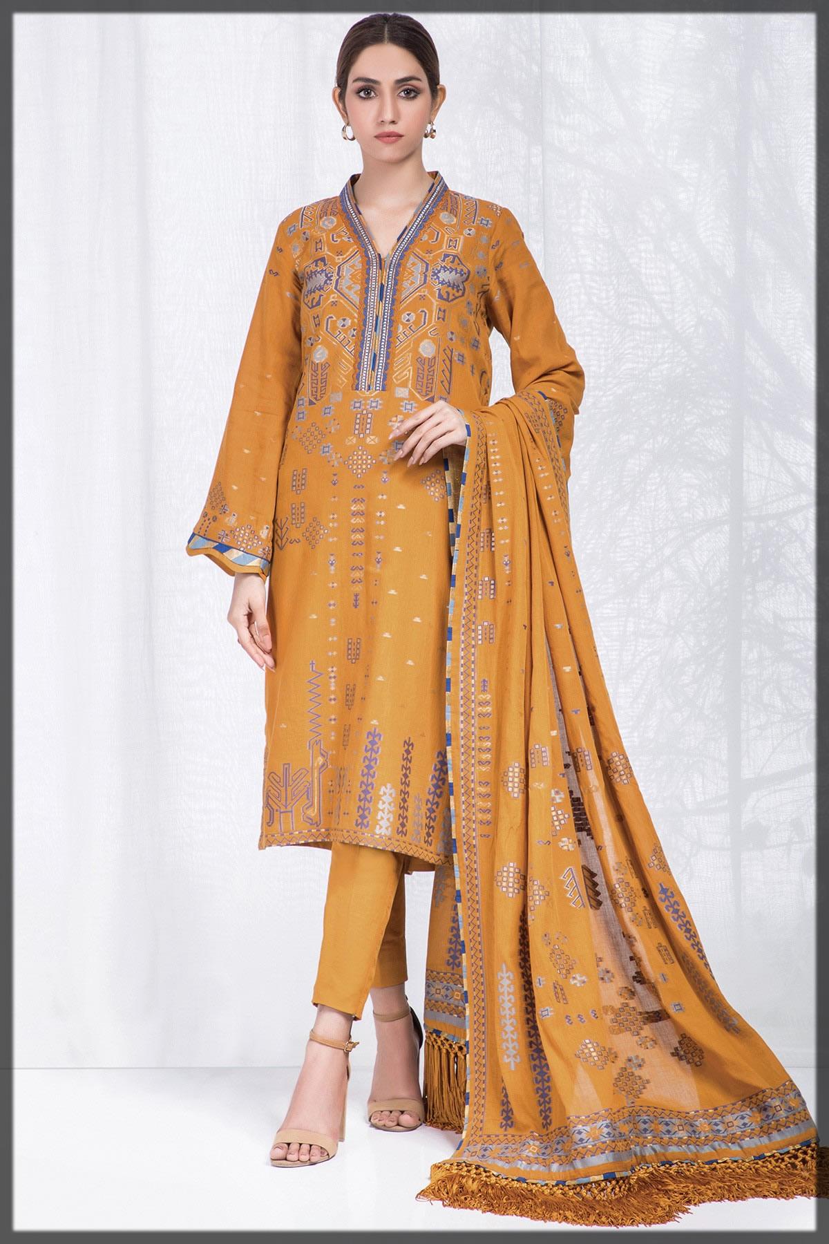 festive mustard jacquard dress