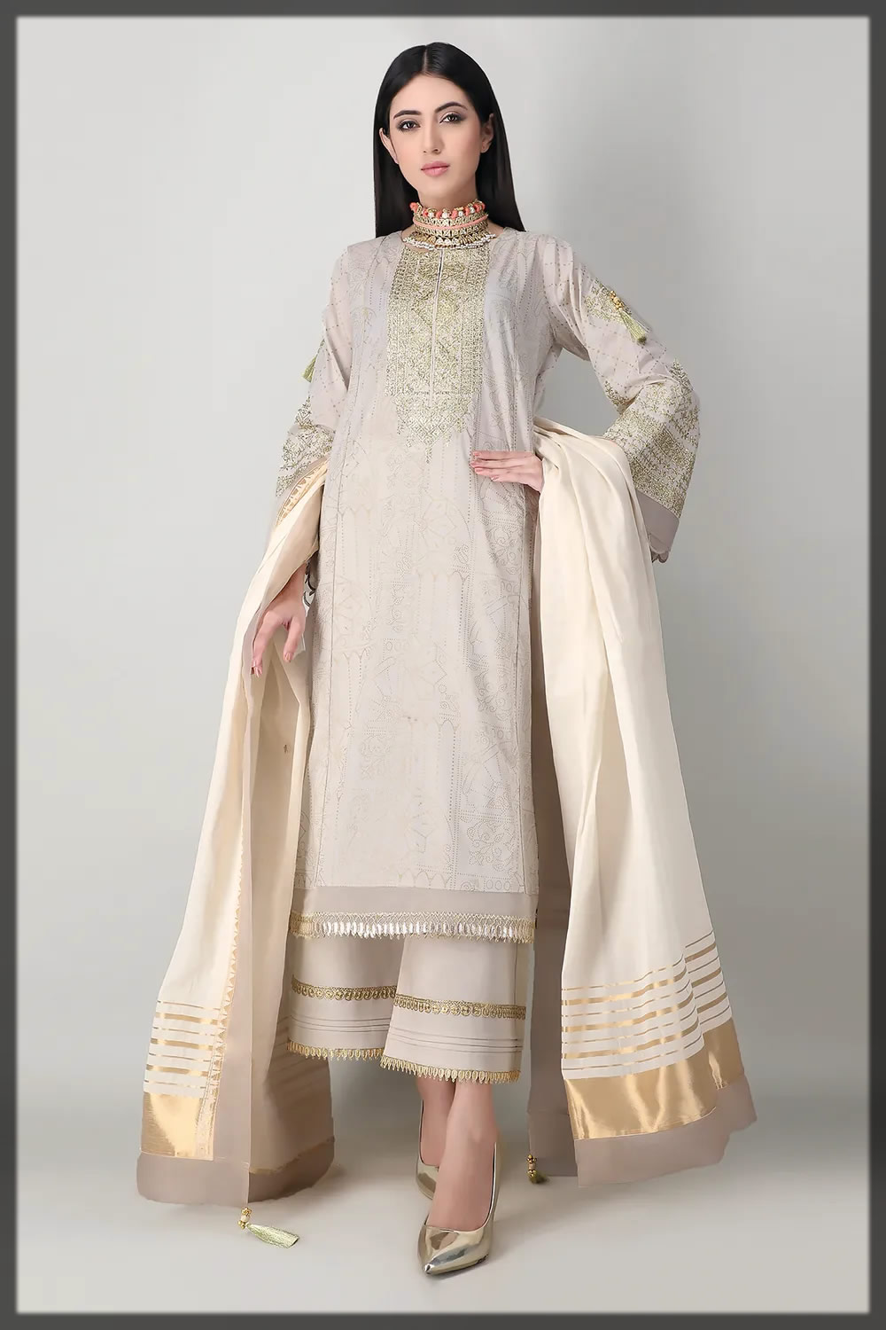 golden embroidered lawn suit