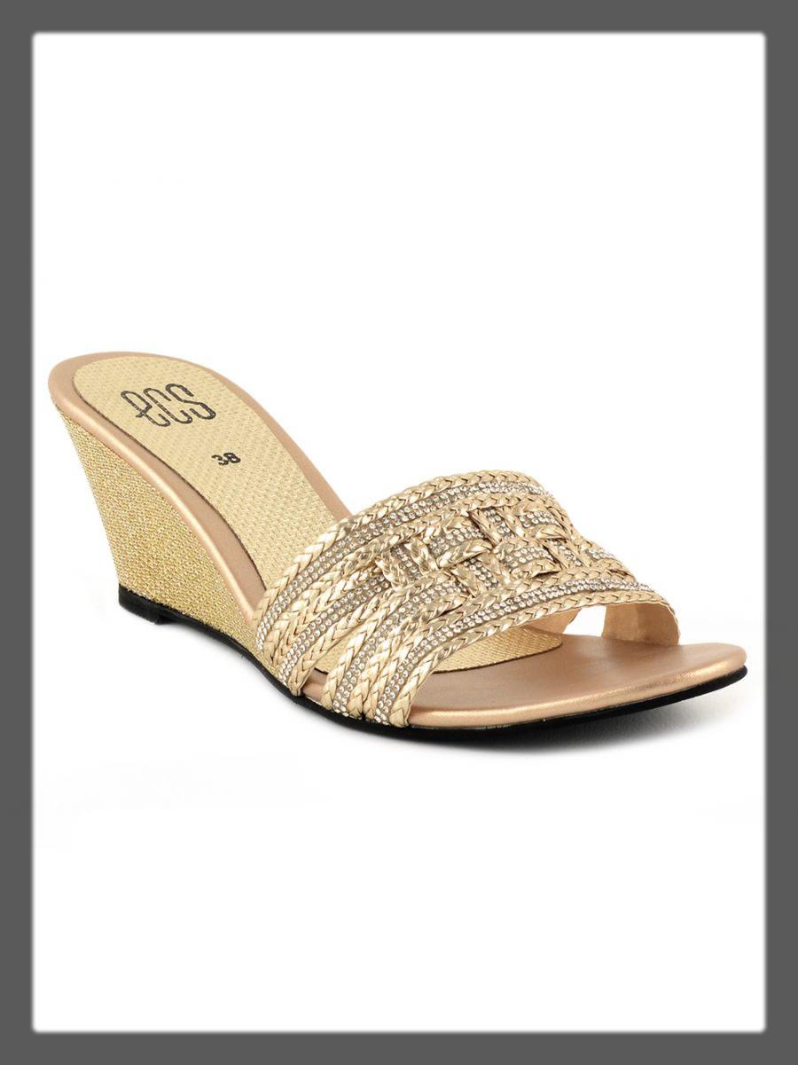 golden fancy wedges for women