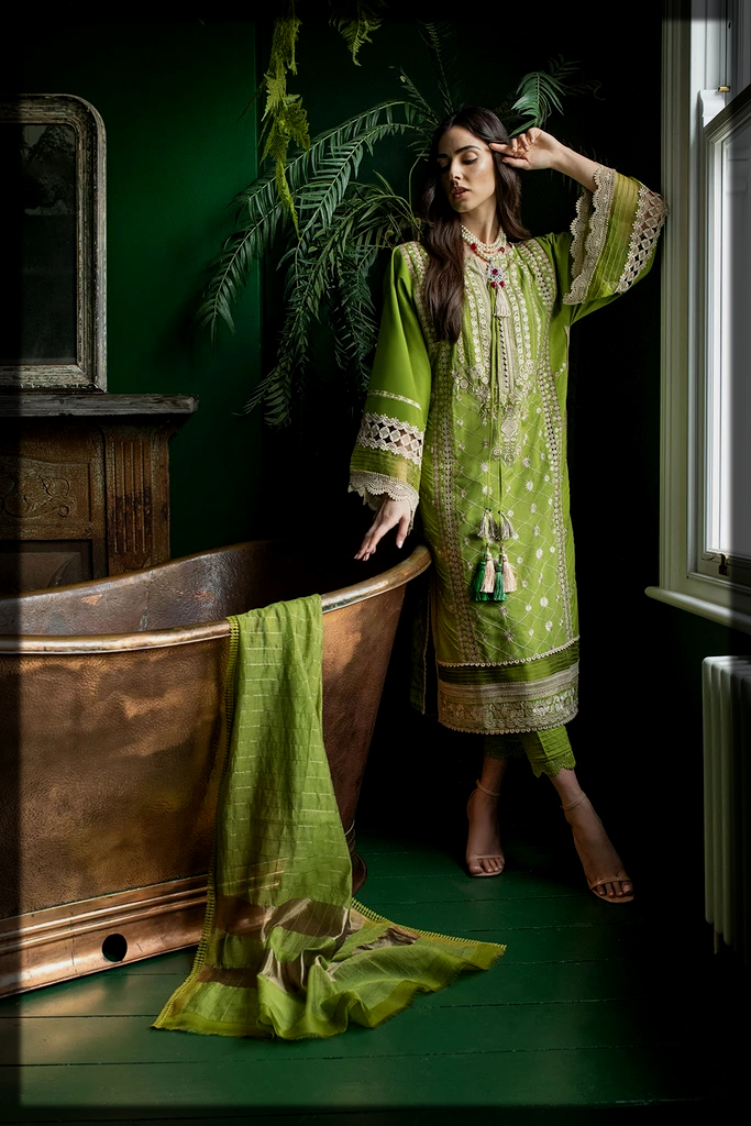 green shaded summer suit by Sobia Nazir