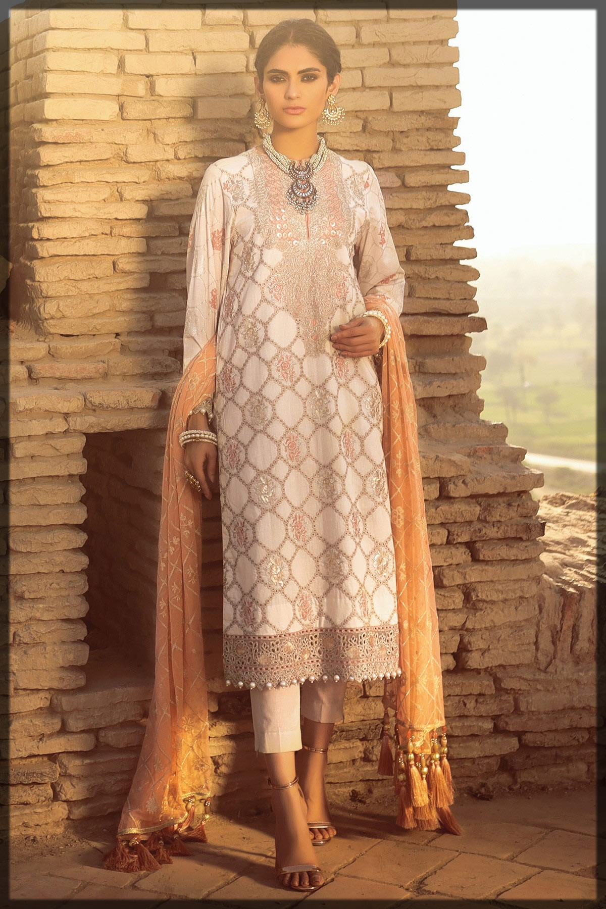 ivory net embroidered summer outfit