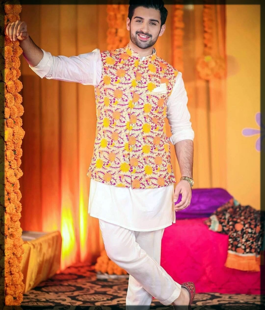 kurta pajama with waistcoart for groom