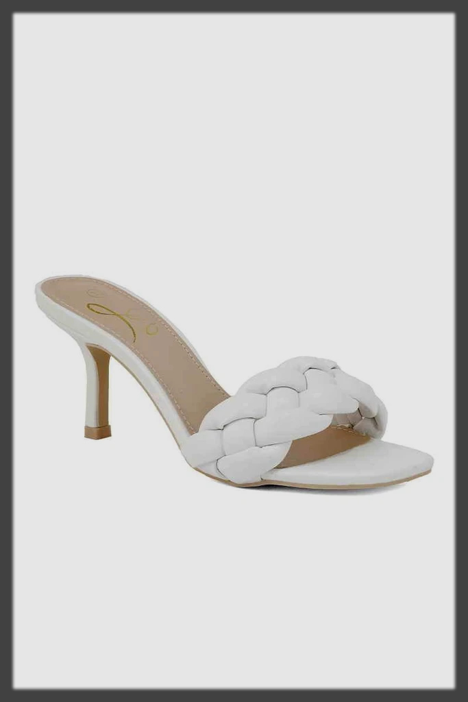 lavish white cone heel shoes by insignia