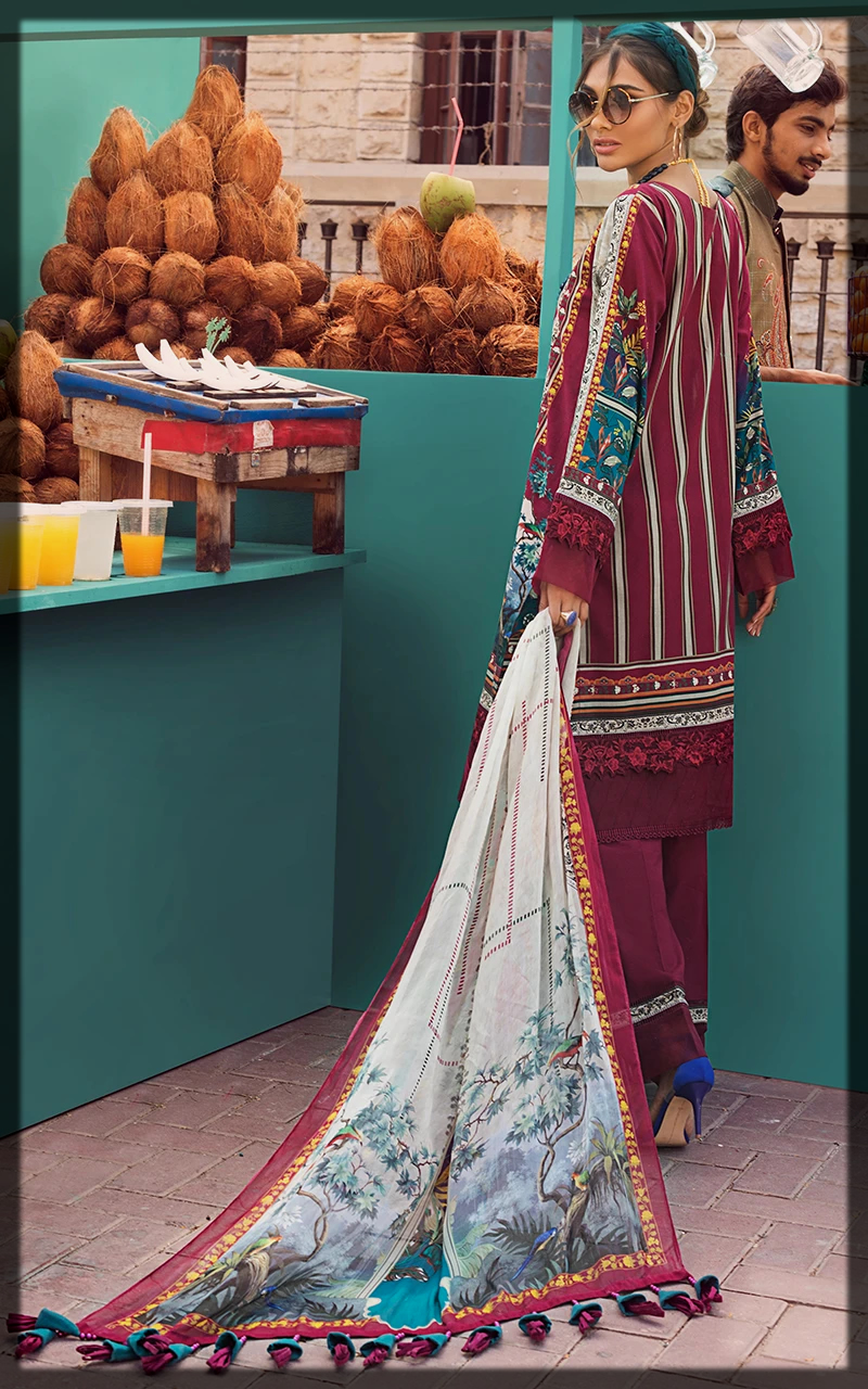 maroon shaded summer lawn suit