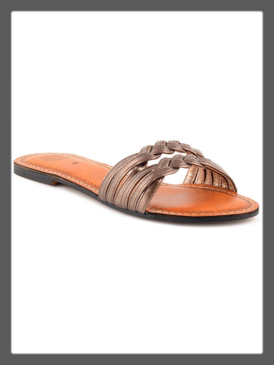 metallic brown casual slipper