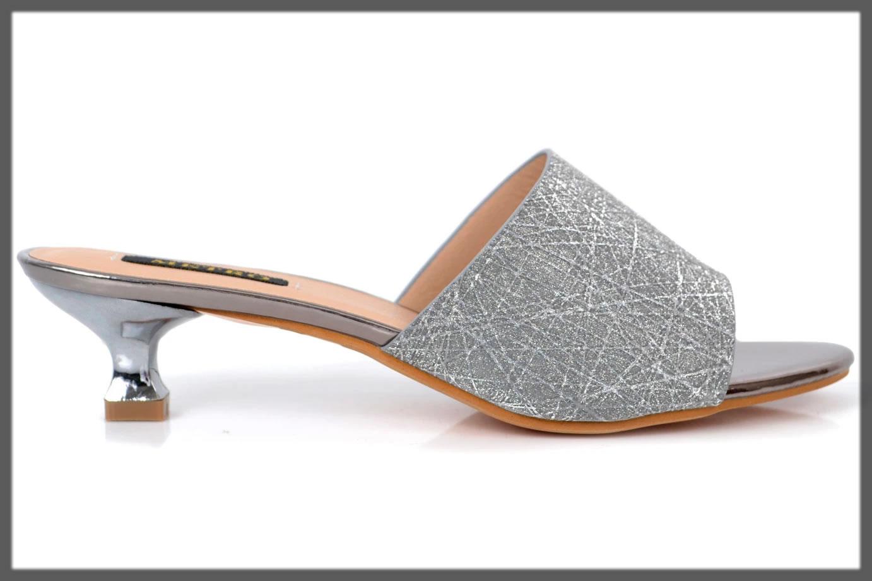 metallic grey fancy footwear