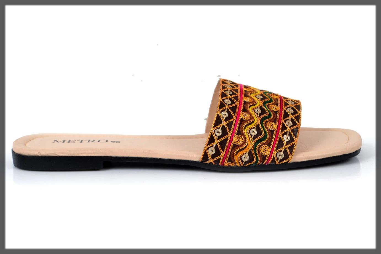 multicolored ethnic slides slippers
