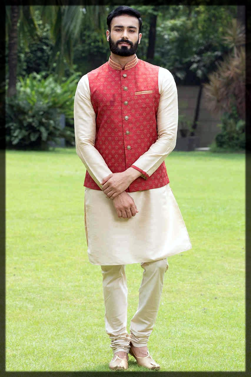 off white kurta pajama with red waistcoat