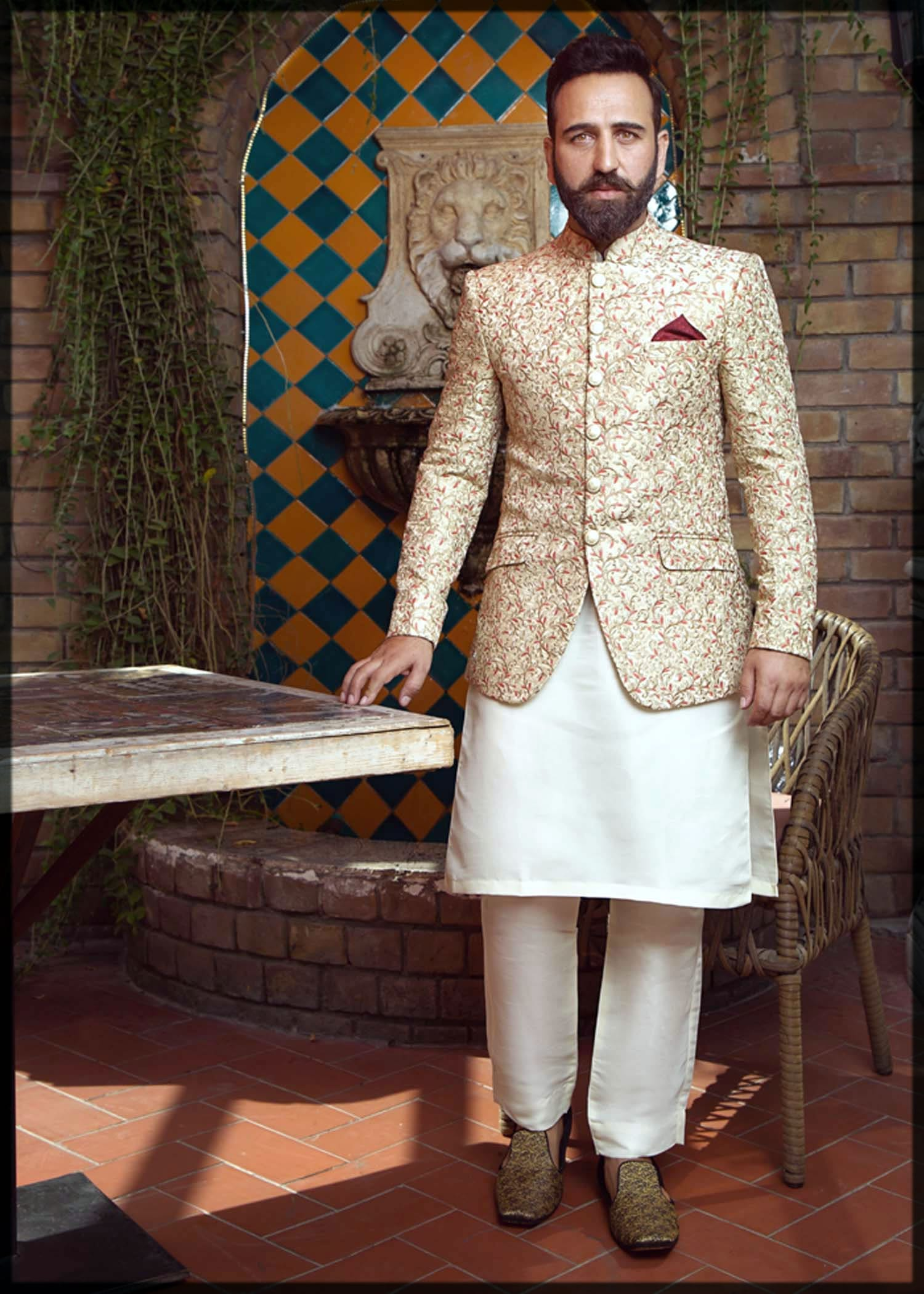 off white mehndi dresses for groom