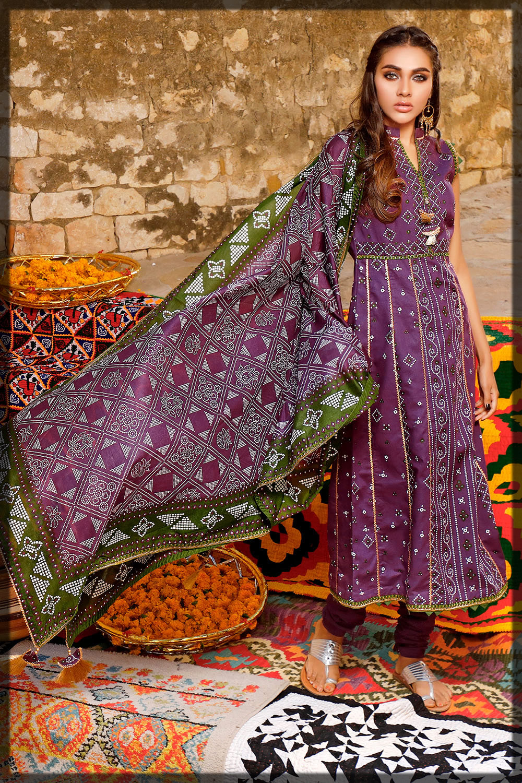purple chunri lawn dress