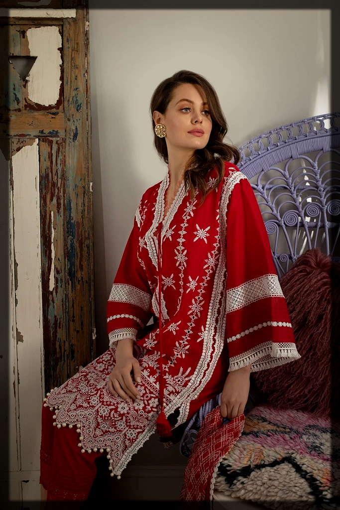 red and white summer suit by Sobia Nazir