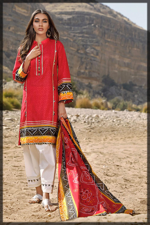 red chunri lawn summer dress