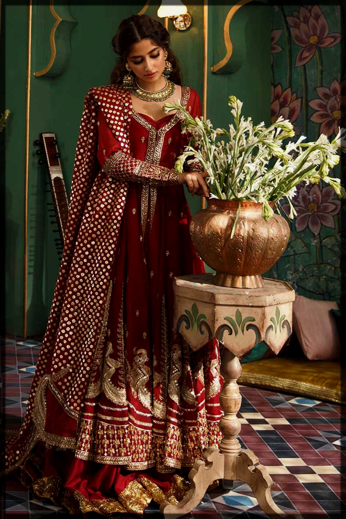 red maroon bridal frock for barat