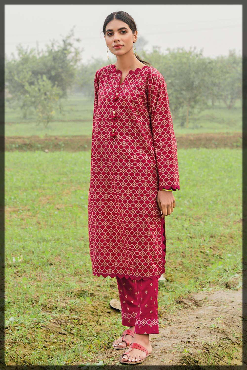 red printed two-piece lawn suit