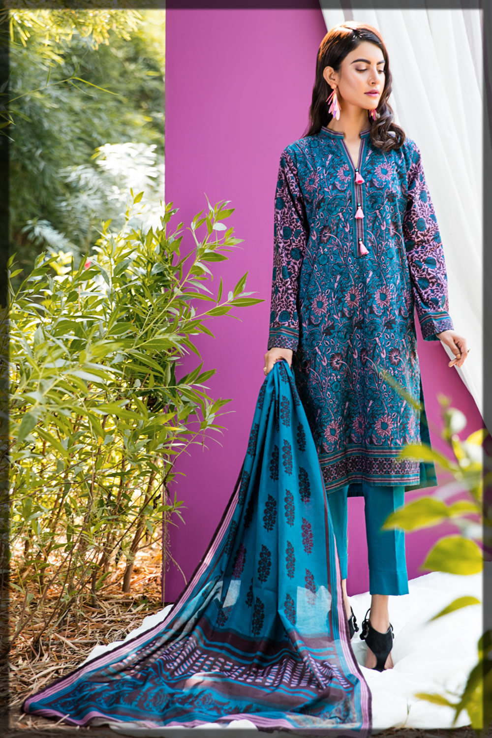 royal blue embroidered lawn suit