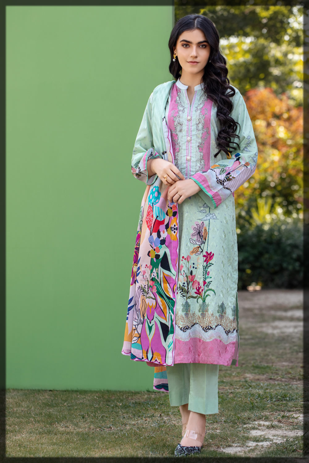 sea green embroidered lawn dress