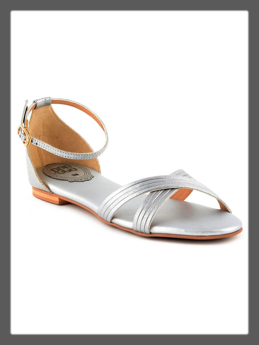 shiny silver sandals