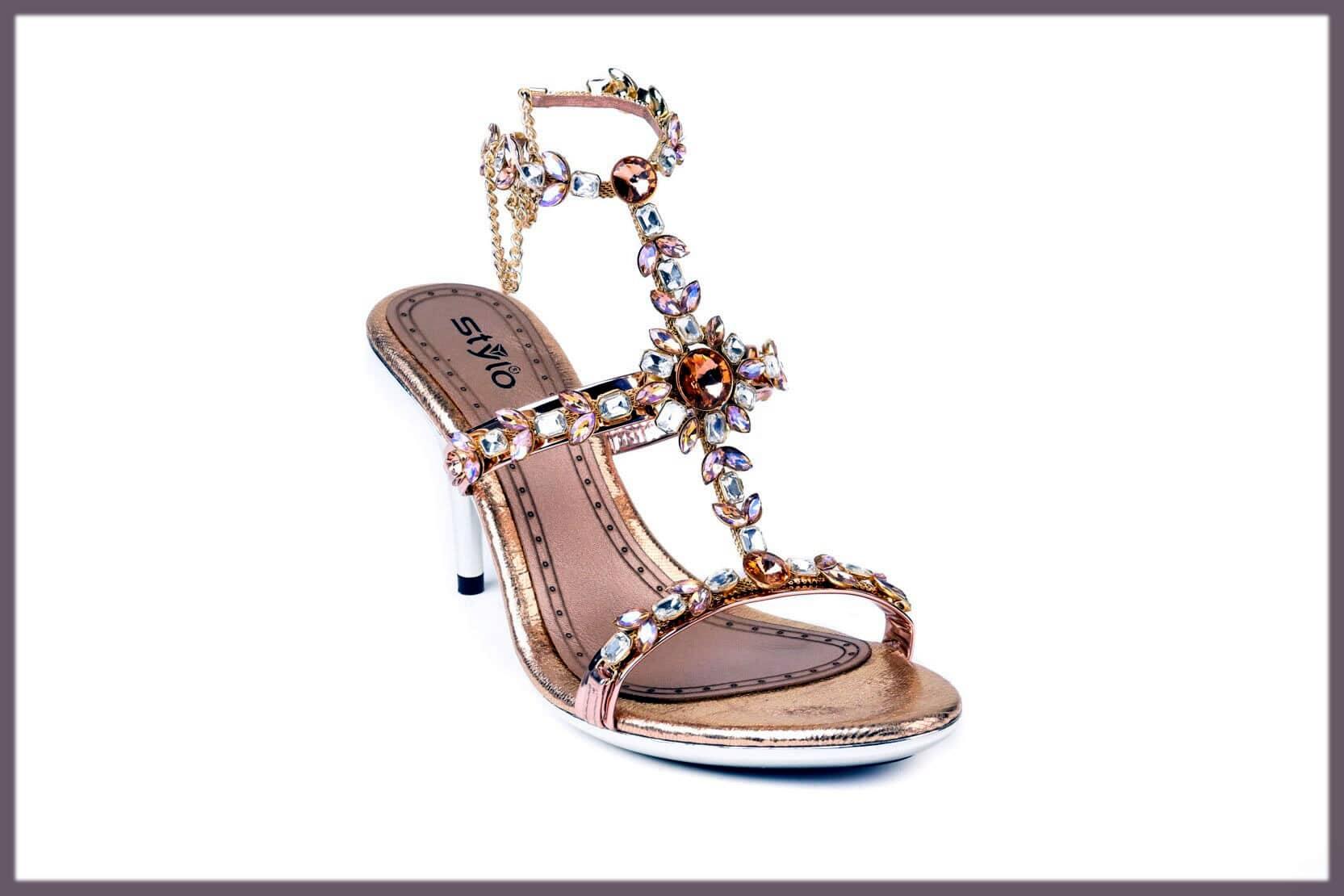 stylish pink bridal wedding shoes