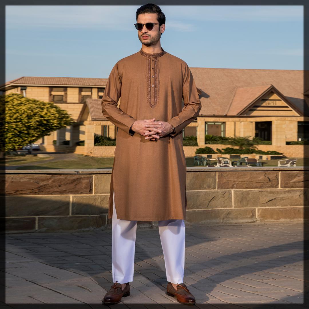 summer brown kurta for men