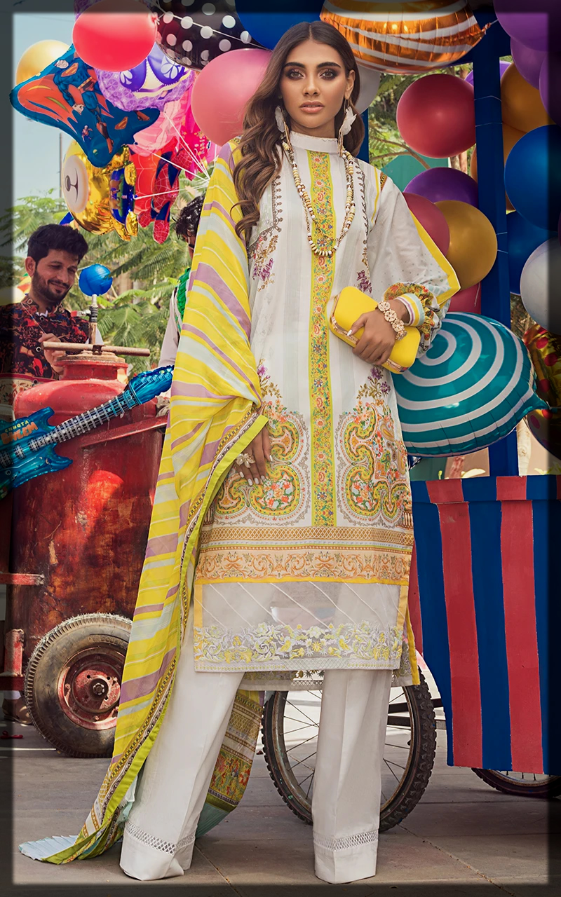 sunshine yellow summer lawn suit by threads by motifs