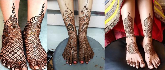 trendy bridal feet mehndi designs