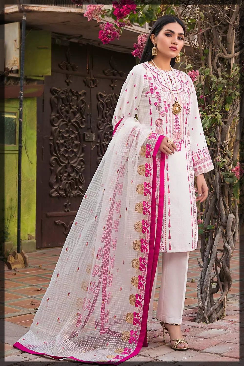 white and pink luxury lawn dress
