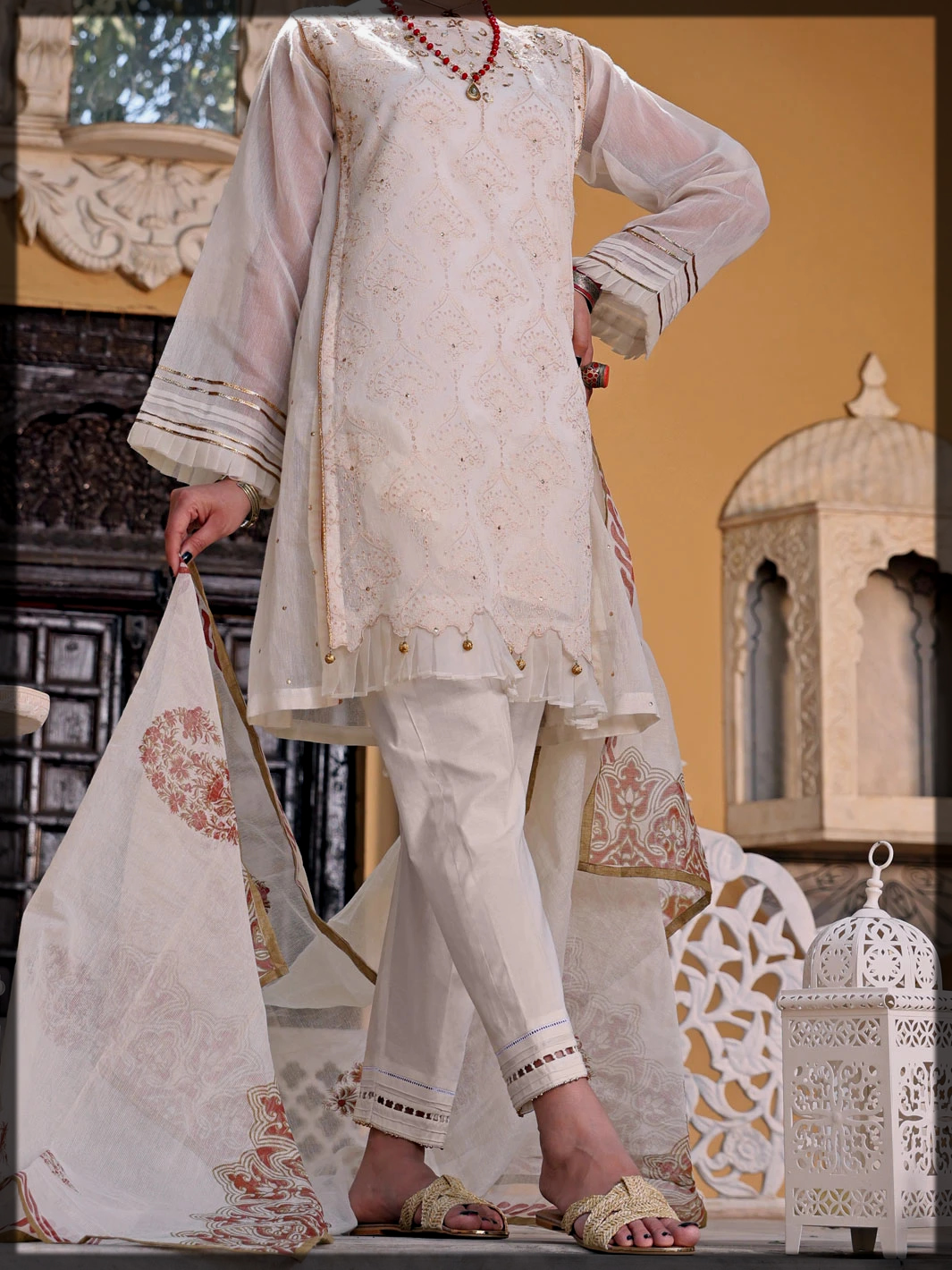 3PC Embroidered Eid Collection in White Hues