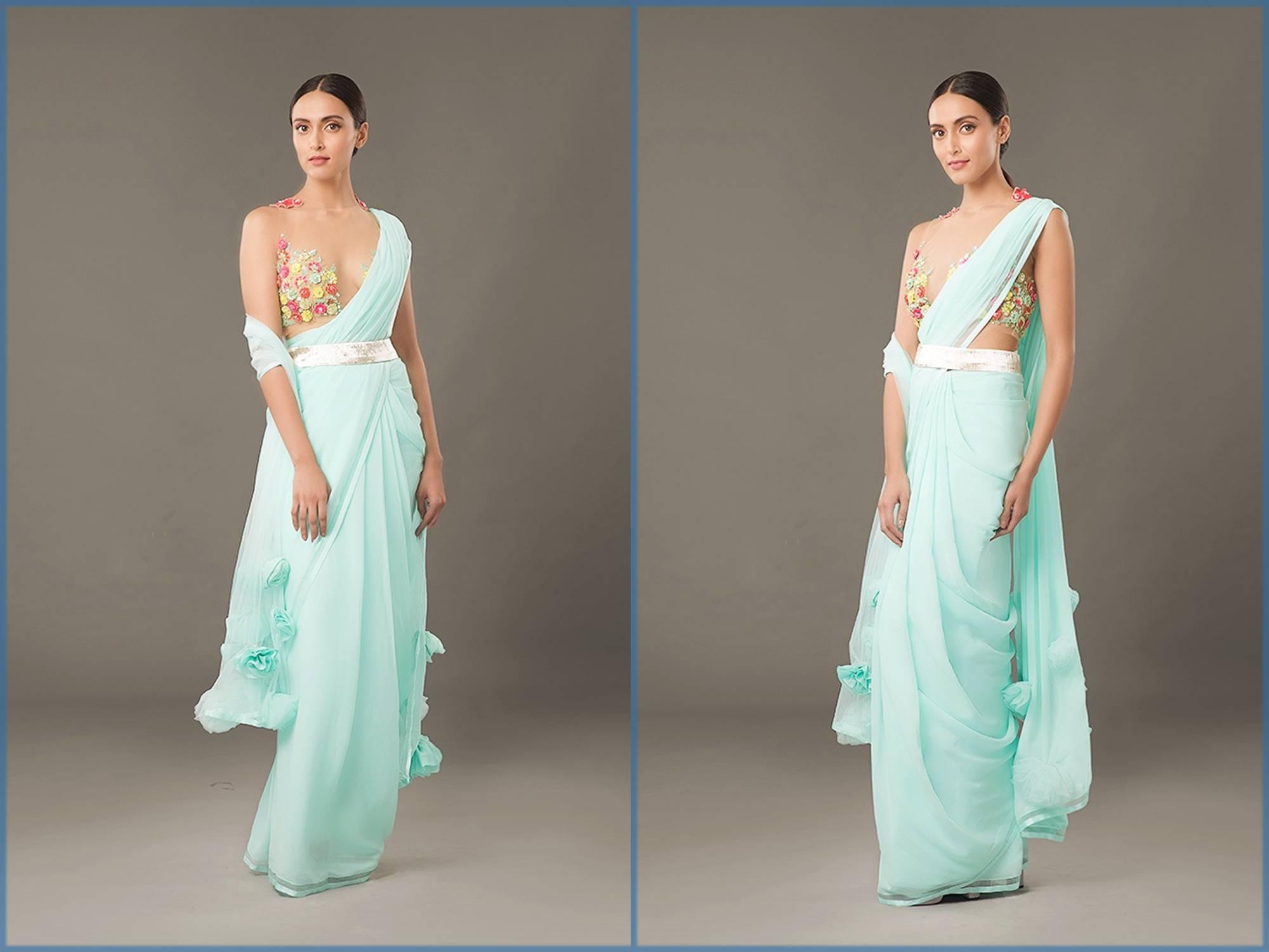 Aqua Blue Sari