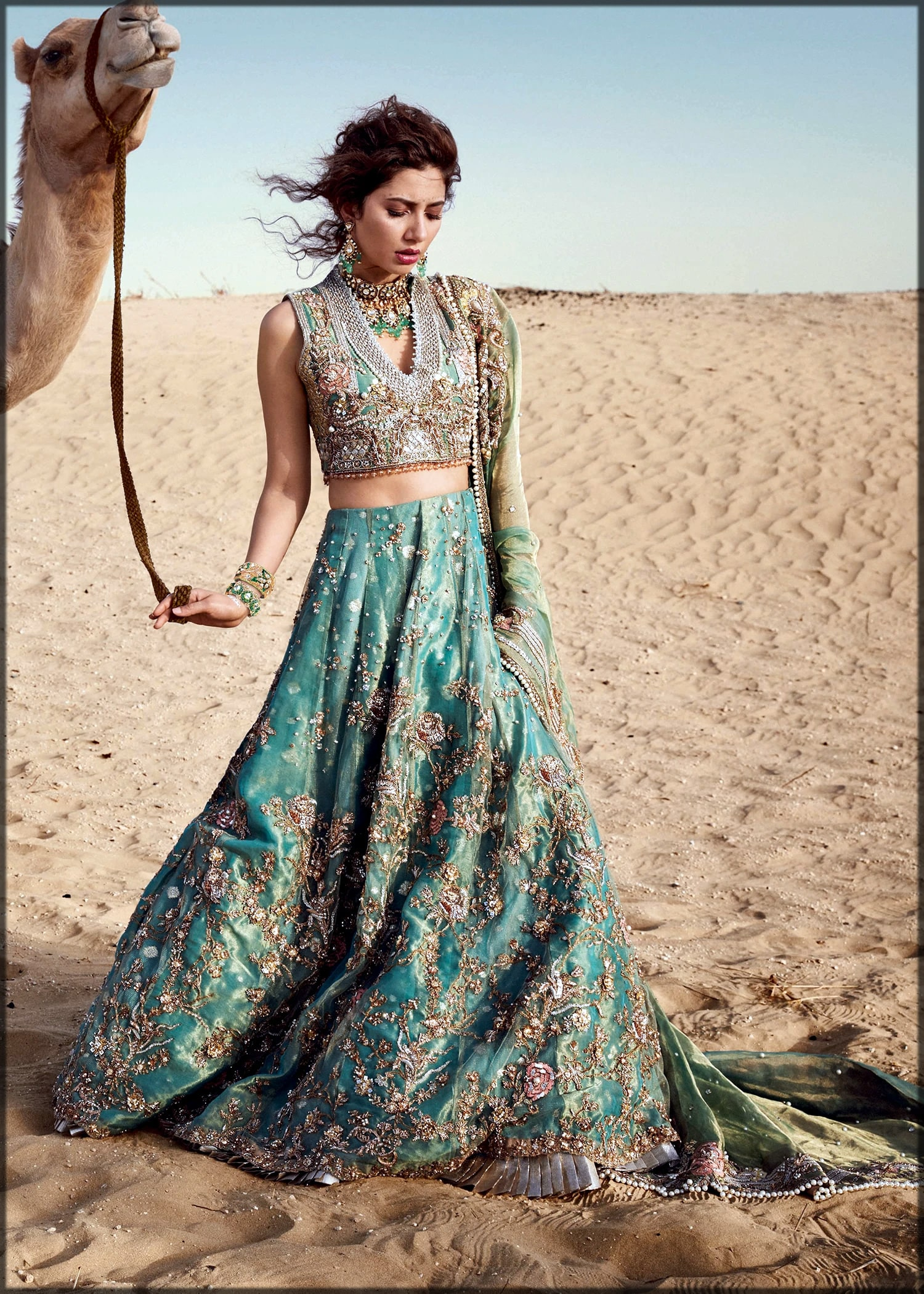 Aqua bridal lehenga by sadaf fawad khan