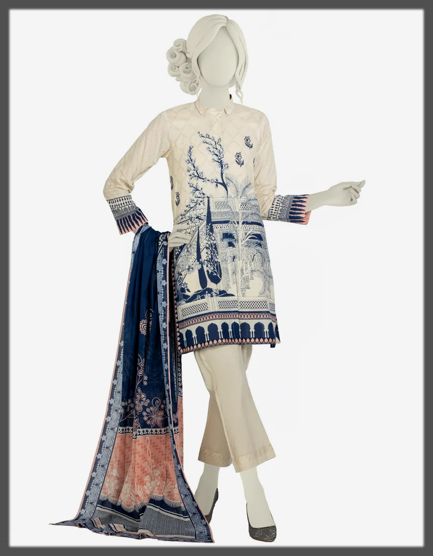 Basic Mill Print Lawn Suit for women
