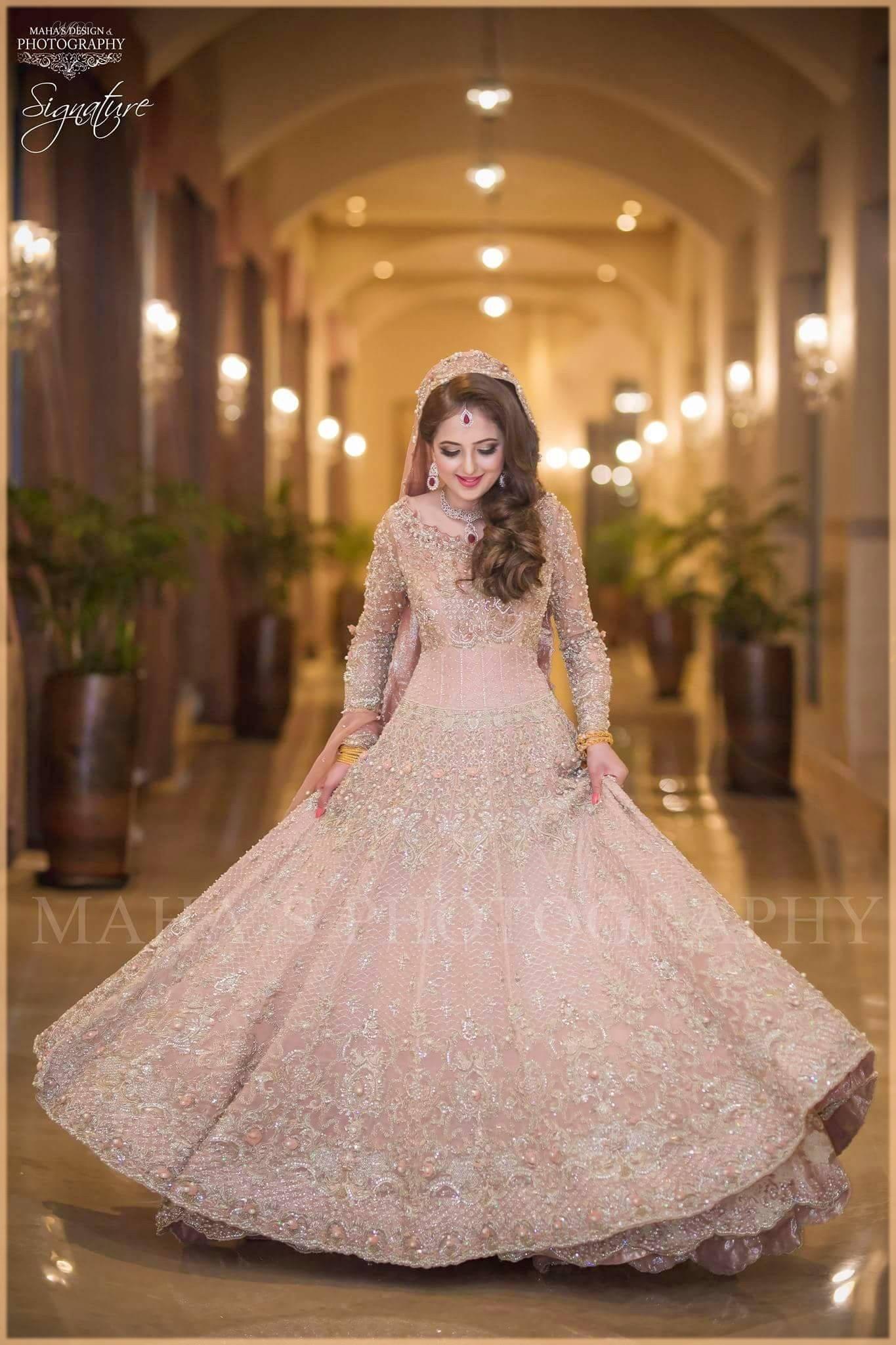 Embellished pink bridal nikkah dress